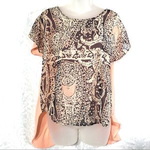 Coral brown open back high low blouse top shirt M